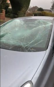 birchin lane smashed car windscreen