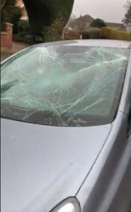 birchin lane smashed car windscreen