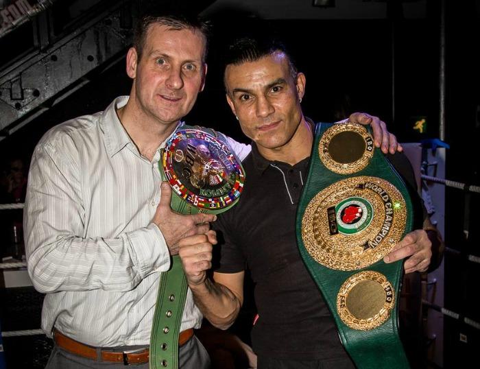 boxing champion Robin Reid attends white collar fight in Nantwich