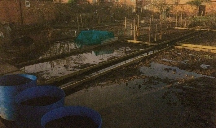 brookfield allotment side under flood water