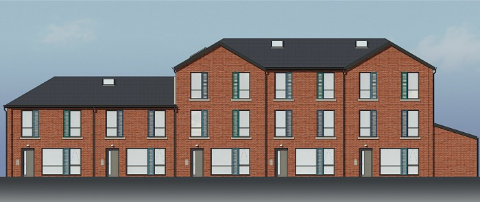 building work at reaseheath - Block A Front Elevation Edit
