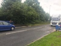 Lorries and cars thunder past the 'crossing' at 40mph