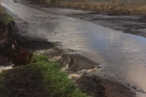 Shropshire Union Canal breach at Beeston caused by Storm Christoph