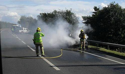 car fire A500 Nantwich