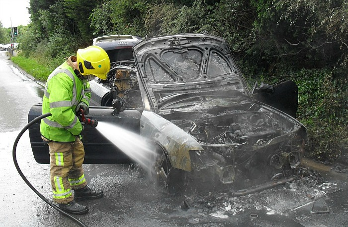 car fire A500 bypass near Cheerbrook roundabout