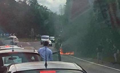 car fire Audi A500 bypass