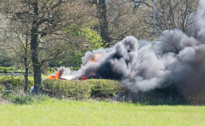 car fire flames alvaston hall hotel