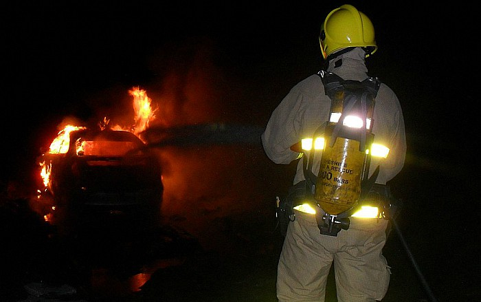 fire - car blaze off crewe road in nantwich