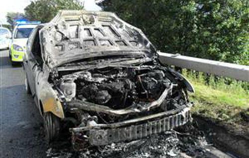 car fire on A500 Nantwich bypass