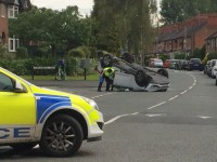Car flips over in accident on Shrewbridge Road, Nantwich