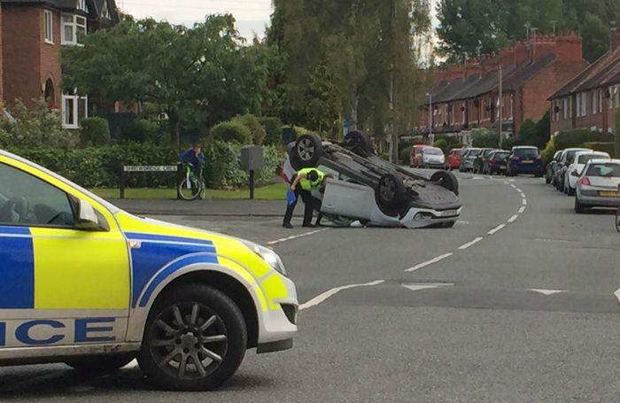 car flipped over on Shrewbridge Road, Nantwich