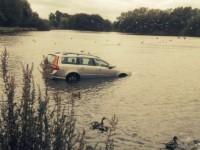 Stunned visitors watch car plunge in to Nantwich Lake