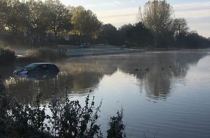 car in nantwich lake 3 - by kath edwards