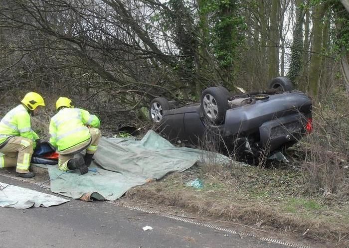 car overturned in nantwich