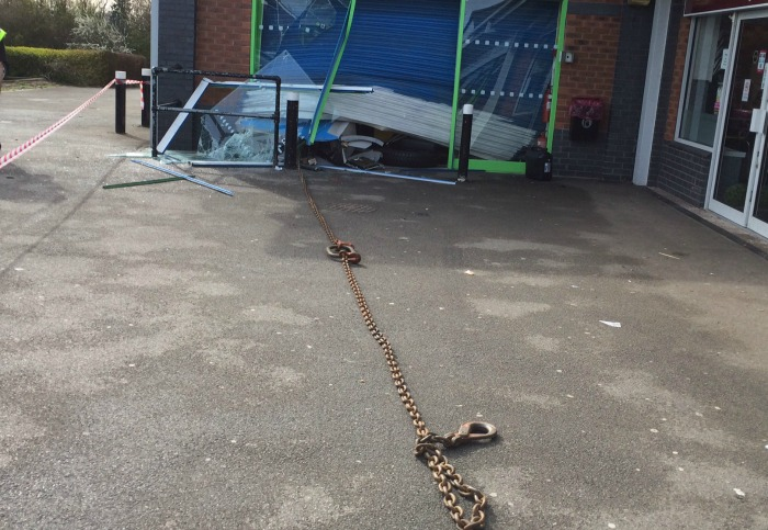 chain used in stapeley co-operative store cashpoint raid