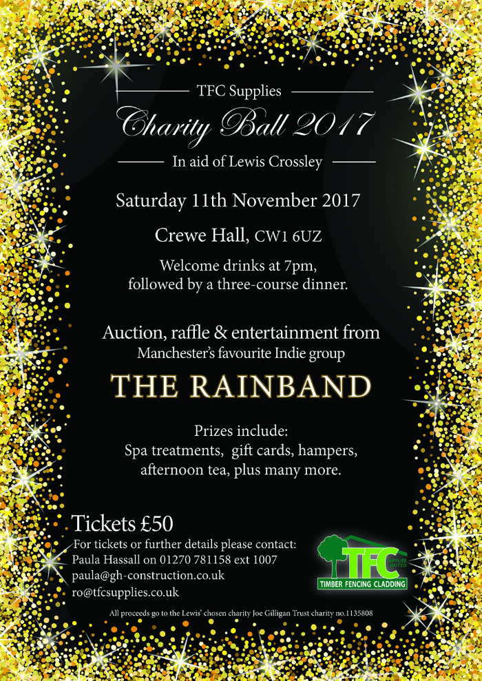 charity ball poster in aid of Lewis Crossley