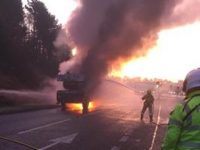 Fire crews tackle crane fire on A54 at Tarporley