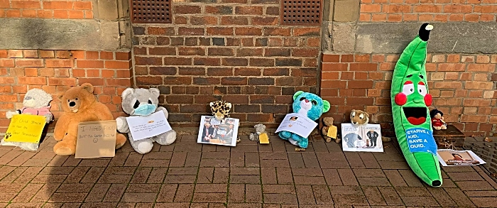 cuddly toys outside Nantwich Con Club