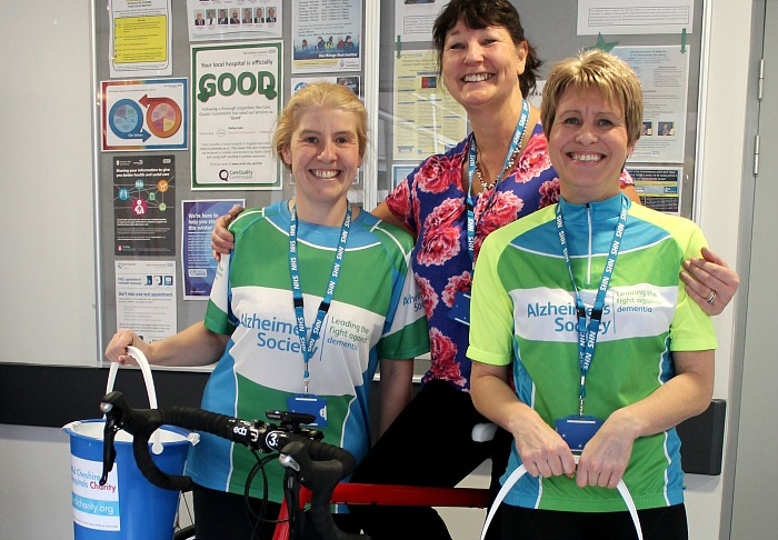 dementia - Ride to Remember (high 2) - left to right, staff members Joanne Sullivan, Jacqueline Allen and Arlene Smith take part in the eve