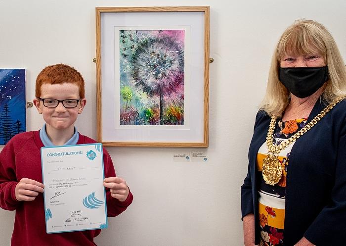 artwork winner - dot-art Schools 2021 overall primary winner Jack Kent of Bridgemere Primary with Lord Mayor of Liverpool (1)
