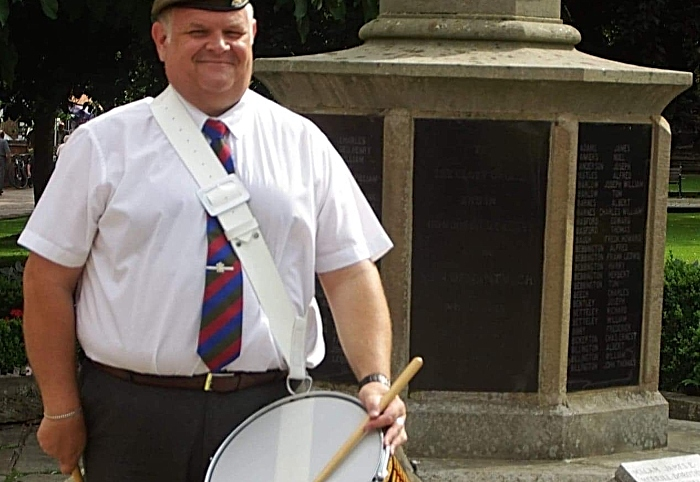 drummer rob richardson in nantwich town centre VE Day