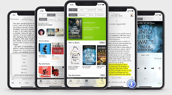 e-reading service CEC libraries - titles on phone screens
