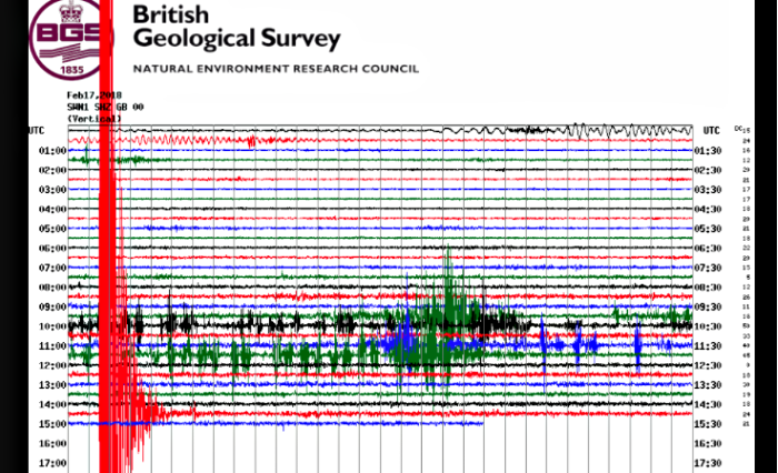 earthquake, image from British Geological Survey