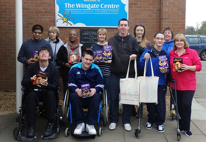 banks sheridan donates easter eggs to wingate centre