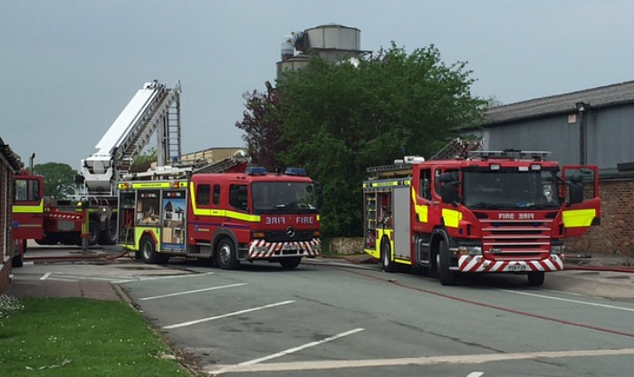 fire crews at wardle timber yard