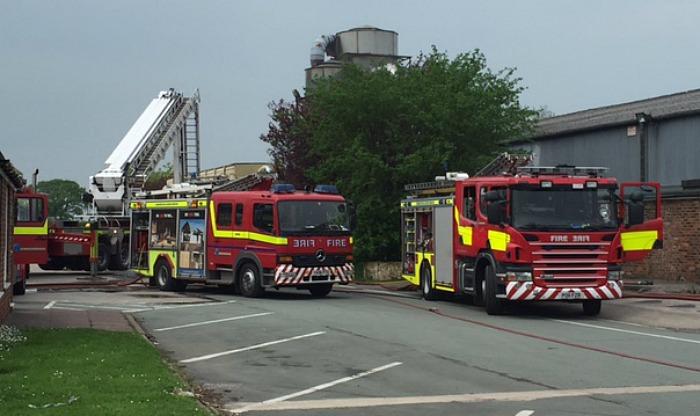 fire crews at wardle timber yard