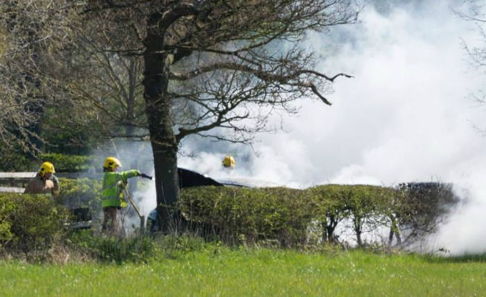 flames - fire crews battle alvaston hall hotel car fire