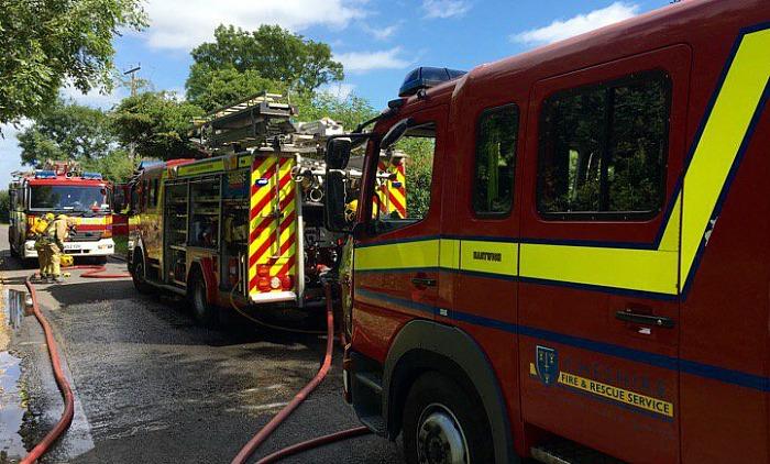 fire crews on Welshmans Lane in Nantwich