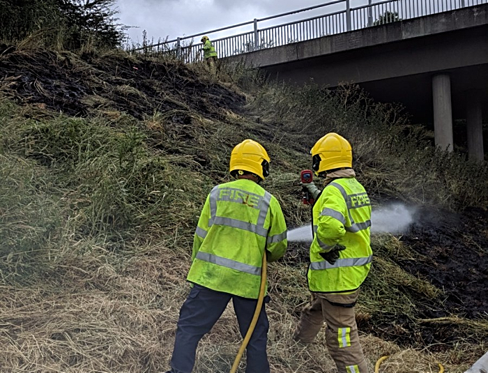 fire on A500 bypass embankment
