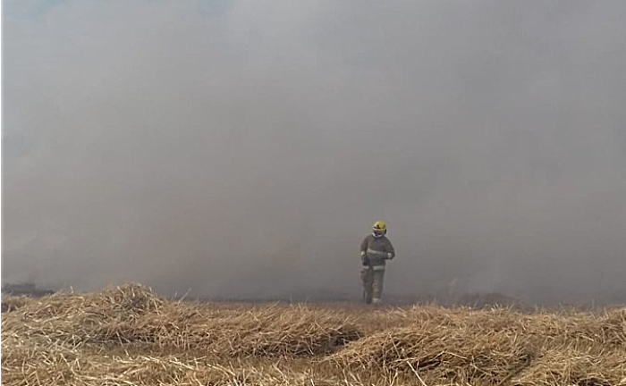 firefighter at farmland blaze at burleydam