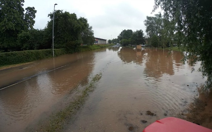 flooded Middlewich Road in Nantwich