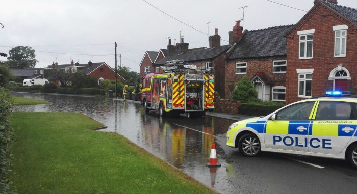 flooding in Aston after torrential rain
