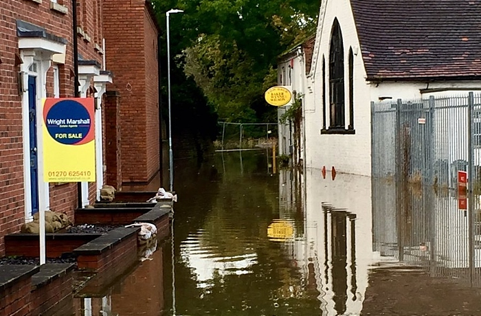 flooding in Nantwich in October
