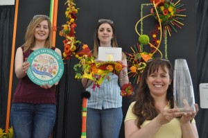 floristry college winners Zoe  Sillito, Anna Eite and Wendy Anderson landscape