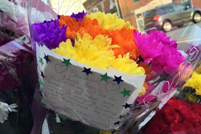 flowers in honour of Michael Beeston