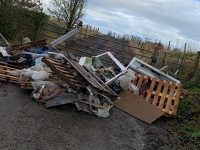 Police hunt fly-tippers after this pile dumped off A51 in Nantwich