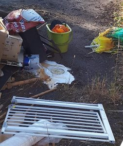 fly-tipping on Nantwich to Crewe Greenway route