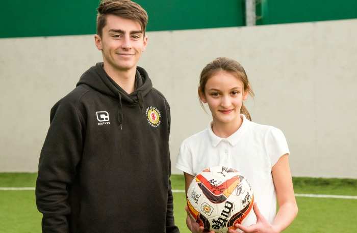 football - Crewe Alex apprentice Owen Dale with Esme Brayford, top player