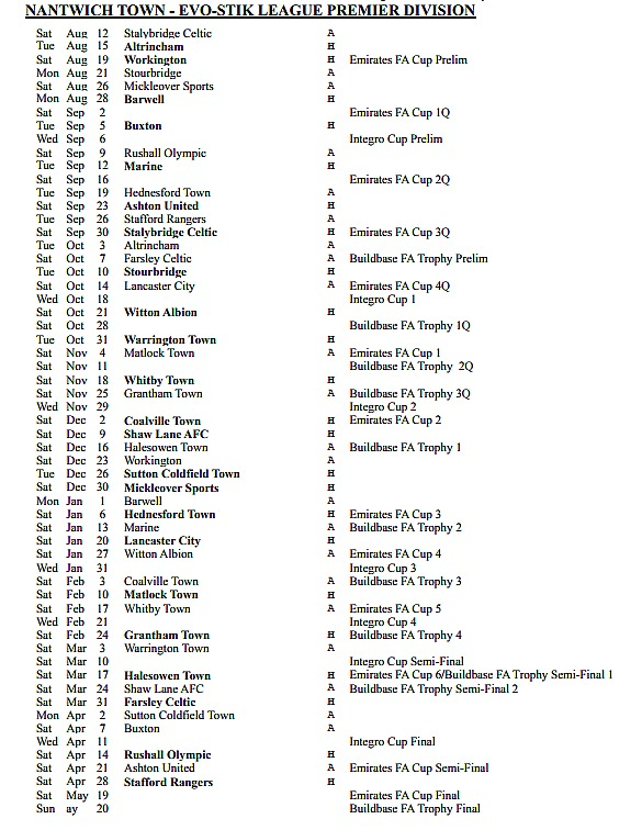 full season nantwich town fixture list 2017-18