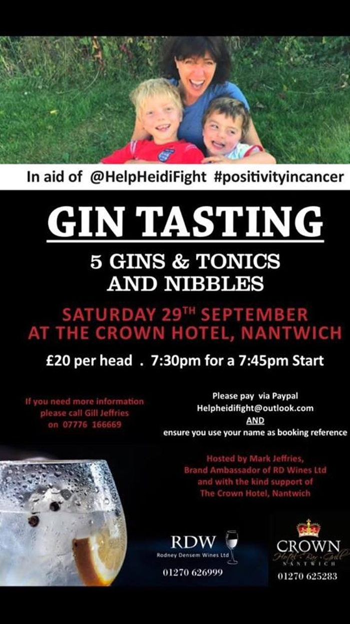 gin tasting event for Heidi Spencer cancer campaign