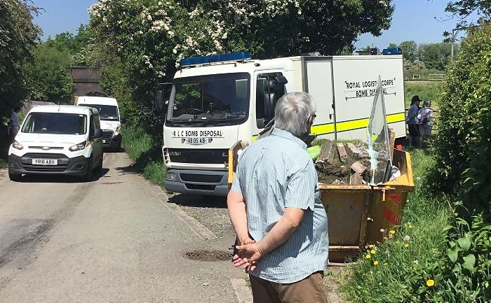 hand grenade in garden - bomb squad in Shavington