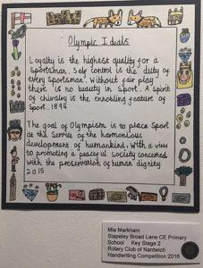 handwriting winner 2016, Mia Markham