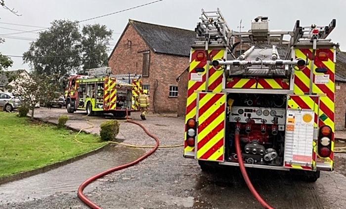 hatherton farm building blaze - pic by Audlem FS
