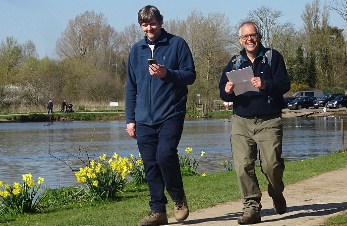 l-r Andrew Feltham and Mark Ray at Nantwich Lake enjoy following the photo-trail - competition