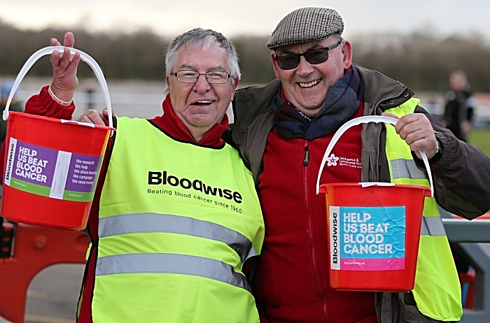l-r - Ben Reinhardt and Mike Boffey from Bloodwise collect money at the Weaver Stadium on New Years Day 2019 (1)