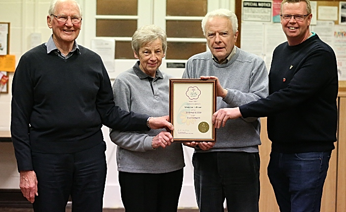 l-r David Clews - Helen Heath - Bill Heath - Jim Dentith with the Wistaston in Bloom Gold Award (1)